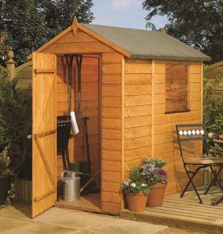 This Rowlinson 6X4 apex garden shed is built using 12mm tongue & groove shiplap. This shed is ideal for smaller gardens, and has plenty of storage space for your garden furniture and tools.